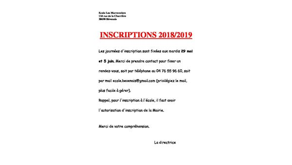 INSCRIPTION ECOLE 2018/2019